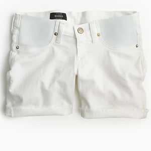 5880a9eaa3d4e White J Crew Washed Maternity Shorts, White Denim